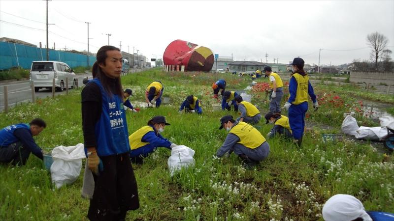 魚町中央分離帯の雑草取り&種まき作業