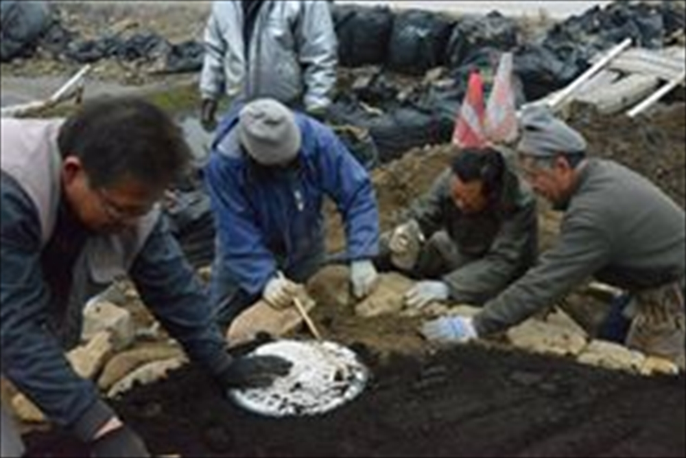 石巻大川地区長面浦番屋の石積み作業_2015_2-22