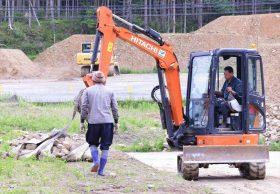 新雄勝ローズファクトリーガーデンの石積み作業の段取り